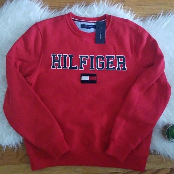 Tommy Hilfiger Other - Tommy Hilfiger Red Hilfiger Flag Sweatshirt